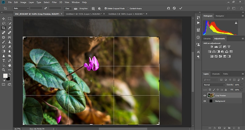 استفاده از ابزار کراپ عکس در فتوشاپ